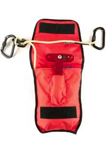 Photo SkedcoThe Skedco personal bailout kit includes 65 feet of 5/16-inch Technora escape rope, a window-rappel anchor, two aluminum carabiners, a mini escape 8, and a carrying pouch.