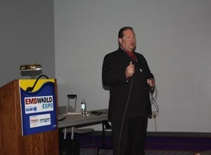 Photo Drew JohnsonShaun Fix, a paramedic with Boca Raton Fire Rescue speaks at the 2011 EMS Expo in Las Vegas.