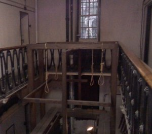 The asking price of $749,000 includes gallows, nooses, handcuffs, the everlasting handprint of a hanged coal miner and possibly some ghosts. (Photo/The Old Museum Jail via Facebook)