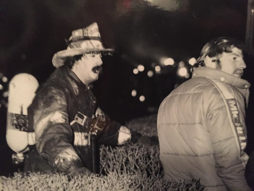 Chief Billy Goldfeder fights an apartment fire in 1979 (Photo courtesy of Billy Goldfeder)