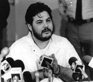 In this 1991 file photo, Joseph M. Giarratano, who was stabbed on July 4, 1996, at Buckingham Correctional Center, speaks with members of the media in Buckingham, Va. (Lindy Keast Rodman/Richmond Times-Dispatch via AP, File)
