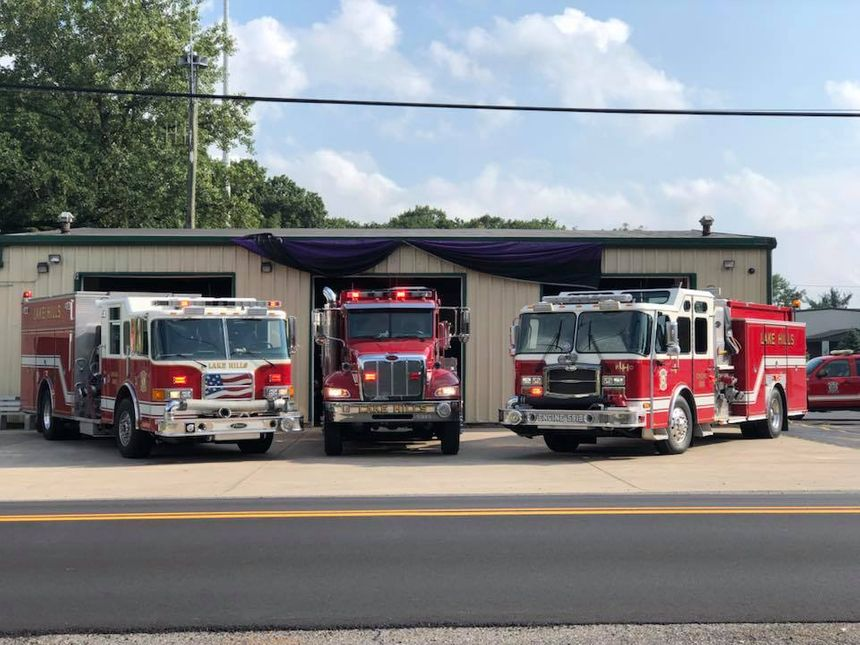 The Lake Hills Fire Department put bunting up at the station to honor Jaclyn Nauracy. (Photo/LHFD)