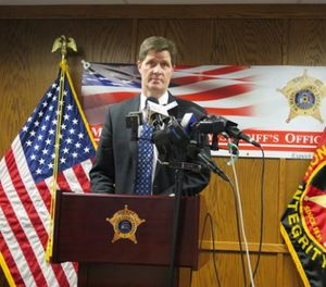 District Attorney John Chisholm discusses criminal charges he filed against three county jail staffers, Monday, Feb. 12, 2018, in Milwaukee, for the dehydration death of an inmate in 2016. (AP Photo/Ivan Moreno)