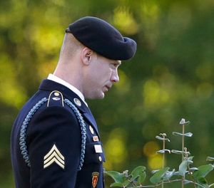 Army Sgt. Bowe Bergdahl leaves the Fort Bragg courtroom facility as the judge deliberates during a sentencing hearing at Fort Bragg, N.C., Friday, Nov. 3, 2017. (AP Photo/Gerry Broome)