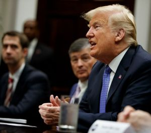 President Trump and Senate leaders agreed Thursday to hold off on compromise criminal justice reform legislation until after the midterm elections. (AP Photo/Evan Vucci)