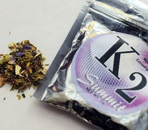 This Feb. 15, 2010, file photo shows a package of K2, a concoction of dried herbs sprayed with chemicals. (AP Photo/Kelley McCall, File)