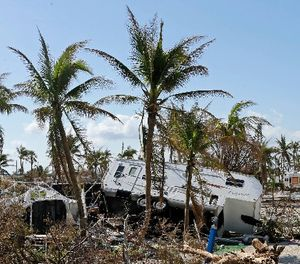An overturned trailer is shown in a trailer park in the aftermath of Hurricane Irma, Wednesday, Sept. 13, 2017, in north Bahia Honda Key, Fla. (AP Photo/Alan Diaz)