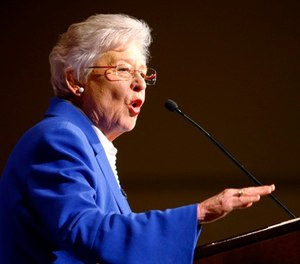 "In this June 5, 2018, file photo, Alabama Gov. Kay Ivey speaks to supporters at a hotel in Montgomery, Ala. After some Alabama sheriffs profited large sums of money by skimping on jailhouse meals, Ivey said Tuesday, July 10, that the state will no longer give jail food funds to ""sheriffs personally."" (AP Photo/Butch Dill, File)"