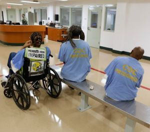 Inmates await mental health treatment at a California facility. Mental health care for inmates will be a key component of the new contract at Volusia County Branch Jail. (AP Photo/Rich Pedroncelli)