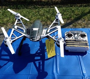 This photo shows a Yuneec Typhoon drone and controller Monday, Aug. 24, 2015, in Jessup, Md. (AP Photo/David Dishneau)