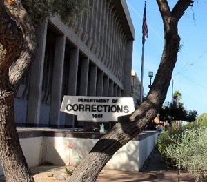 This photo shows the Arizona Department of Corrections headquarters in Phoenix on Wednesday, March 16, 2016. (AP Photo/Bob Christie)