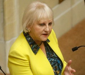 In this Monday, March 2, 2015, photo, shows Sen. Karen Mayne, a Democrat from West Valley City, on the Senate Floor, at the Utah State Capitol, in Salt Lake City. (AP Photo/Rick Bowmer)