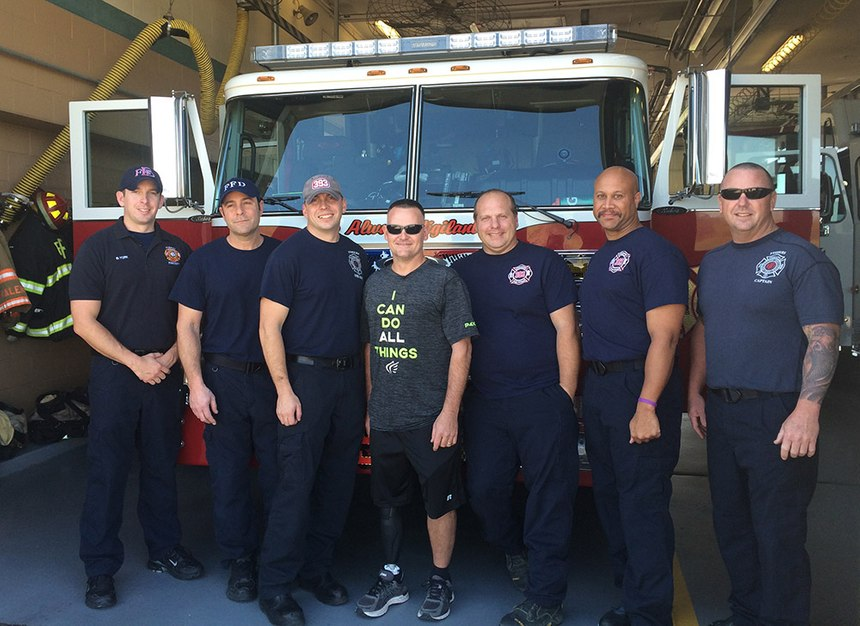 Anderson with his fire crew. He says the support from his fellow firefighters in encouraging him and helping him return to duty, as well as looking after his family during his recovery, was phenomenal.