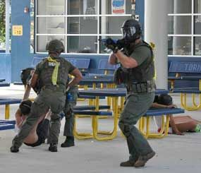 The active-shooter training at Pompano Beach High School was designed to evaluate the multi-disciplinary, multi-team, coordinated response. (Image Courtesy of Broward Sheriff's Office)