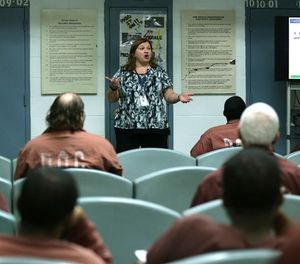 Becky MacDicken, center, educates inmates on February 21, 2018 on financial literacy so they can re-enter society at the State Correctional Institution in Chester, Pa. (David Maialetti/Philadelphia Inquirer/TNS)