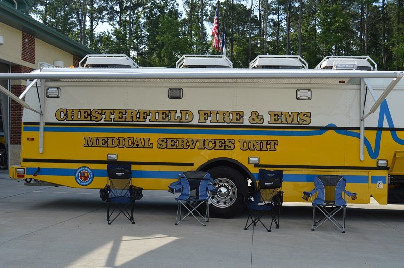 An awning provides shade and cooling during rehab. (Photo/Lt Jason Elmore, PIO, Chesterfield Fire and EMS Department)