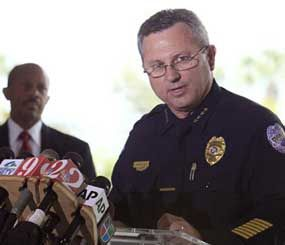In this March 22, 2012 file photo, Sanford (Fla.) Police Chief Bill Lee speaks to the the media during as city manager Norton Bonaparte Jr. listens at left. (AP Photo)