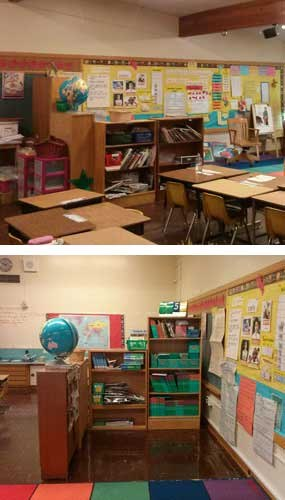 "Stan Cohen's suggestion is called ""The Cubicle of Life"" and he has already implemented his solution in at least one school (for OpSec I'll leave it at that). The first image above is the view of 'The Cubicle of Life' as seen from the door to the classroom. In the event of a lockdown call, students might be able to put their chairs on top of the tables before moving into their hiding place, making the room look even more convincingly empty. The second image shows the hiding place itself. (Images courtesy of Stan Cohen)."