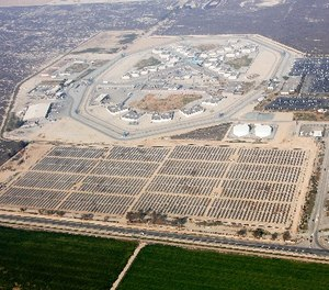 Since 2011, the solar field at the North Kern State Prison in the town of Delano has produced 5.7 megawatts of electricity per year. It reduces greenhouse gas emissions (CO2) equal to taking 22,000 cars a year off the road and saves taxpayers $13 million a year in electrical costs. (Photo/CDCR)