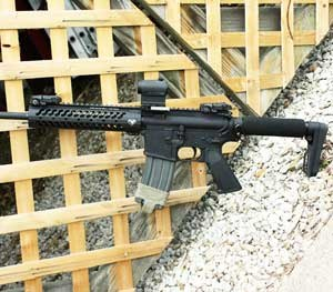 The Constant Carry comes with a single-point sling connection point and small sections of Picatinny rail which can be mounted at various points on the slim, aluminum handguards for adding practical gadgets like lights and foregrips. (PoliceOne Image)