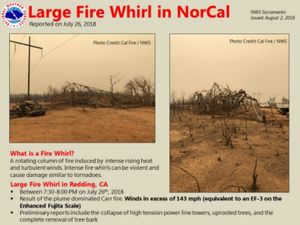Images from the scene of the fire whirl show tornado-like destruction. (Photo/Courtesy of the National Weather Service)