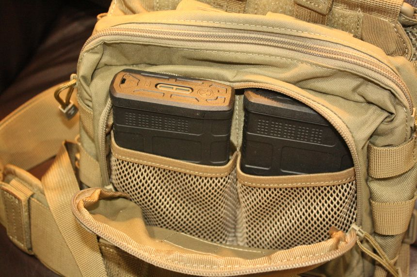 The 5.11 2-Banger chest pack holds two 7.62mm P-mags in the front zippered pouch. (Photo/Dick Fairburn)