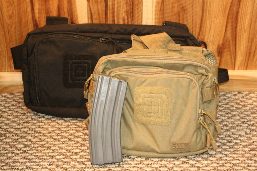 The 5.11 2-Banger and 4-Banger chest pouches, designed for either 2 or 4 M16/M4 30 round magazines, plus other incidental gear to carry you through an active shooter response. (Photo/Dick Fairburn)