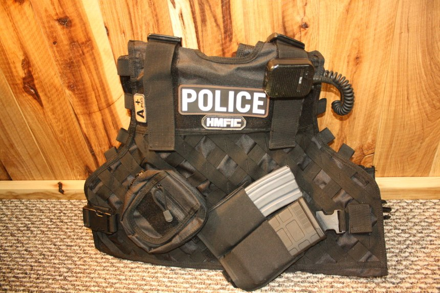 A tactical vest/body armor carrier can carry spare carbine mags and other gear in pouches added to the MOLLE strips. These elastic magazine carriers will securely hold either a 30 round M4 magazine or a 20 round 7.62mm magazine for a Designated Marksman rifle. (Photo/Dick Fairburn)