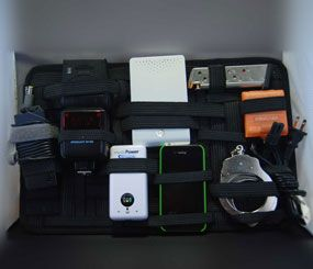 A briefcase-size Grid-It panel holds a lot of odd-sized items securely.