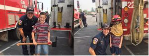 A visit from the children of CAL FIRE Captain Zach Hollister during a break provided a much-needed morale boost to the firefighters on the line. (Photos/Courtesy Zach Hollister)