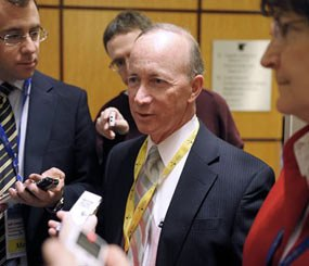Indiana Gov. Mitch Daniels speaks with reporters during the National Governors Association winter meeting in Washington, Saturday, Feb. 25, 2012. (AP Photo/Cliff Owen)