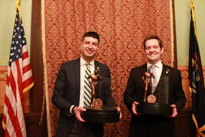 Michigan House Reps. Tom Barrett (left) and Ben Frederick are the first recipients of the MCO Legislator of the Year award. (Photo/MCO)