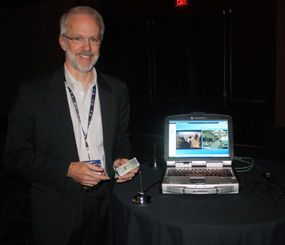 Motorola's Dan Naylor demonstrated his company's latest advancement in over-the-air LTE on the public safety swath of 700MHz spectrum during the 2010 Motorola Integrated Command & Control Users' Conference at the Red Rock Resort in Las Vegas.  (PoliceOne Image)