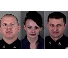 Sgt. Kevin Thyne, Officer Ruth Burns and Sgt. James Garber were injured when suspect Eddie Jones III attacked and disarmed Burns in Gloucester Township, N.J., on Dec. 28. (Gloucester Township Police Image)