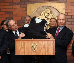 New York Mayor Michael Bloomberg and Police Commissioner Raymond Kelly show off the body armor that prevented Officer Robert Salerno from being fatally wounded. (Photo: Spencer Tucker/NY Mayor's Office)
