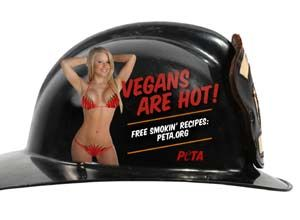 Photo PETA PETAoffered donations to the burned Sissonville volunteer fire station if bikini-clad women promoting PETA's website were placed onfirefighters' helmets.