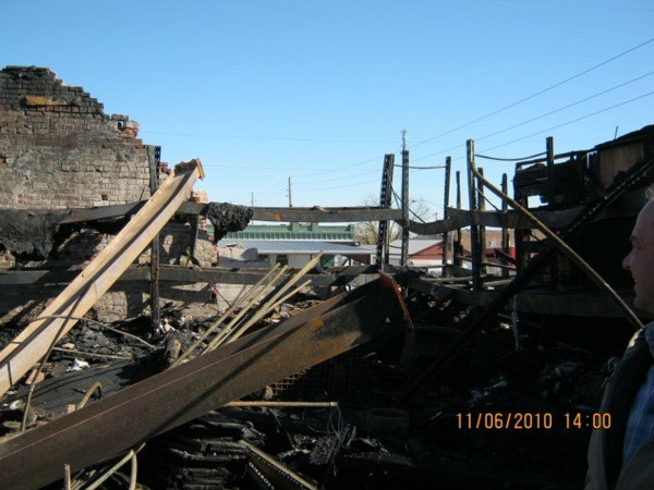 View of collapsed wall from steel I-beam expansion. (Photo courtesy of Pittsburg [KS] Fire Dept.)