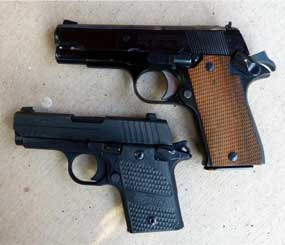 The SIG (left) — like the Star (right) — looks like a scaled down M1911. The magazine release, manual safety, and slide release are all in comfortable and familiar locations, but there is no grip safety. (PoliceOne Image)