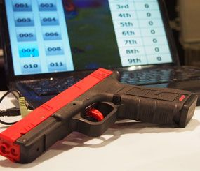 The iMarksman package uses common file formats to set up scenarios and a standard SIRT Training Pistol to shoot. (PoliceOne Image)