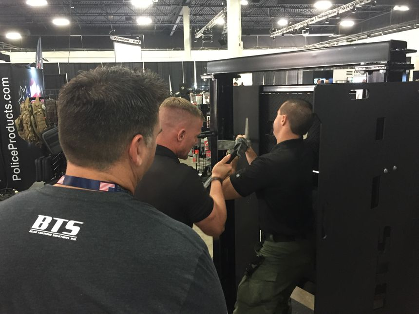 The Tactical Door from Bear Training Solutions breaks down into five parts for easy transport to training venues. (Photo/PoliceOne)