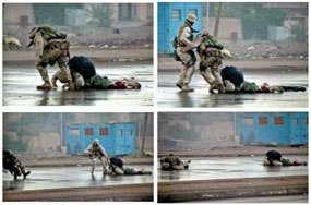 Marine Corps Gunnery Sergeant Ryan P. Shane was struck by gunfire while rescuing a downed warrior on a street in Fallujah, Iraq. Shane was dragged to safety by a fellow Marine. (Photo collage courtesy of Officer Steve Rabinovich)