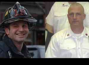 Boston firefighters Michael Kennedy (left) and Lt. Edward Walsh. (Photo courtesy of the Boston Fire Department)
