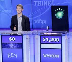 "In mid-February of this year, IBM's Watson supercomputer — named after company founder Thomas Watson — all but dismantled Jeopardy ""super champions"" champions Ken Jennings (left) and Brad Rutter (not pictured)."