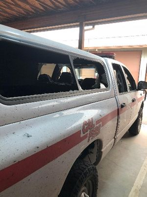 The windows were blown out of the truck CAL FIRE Captain Shawn Raley used to evacuate two civilians as the fire bore down on them. (Photo/Courtesy CAL FIRE)