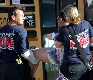 Paramedics from Coral Springs-Parkland Fire Department were desperate to go inside where students were wounded and dying after the Feb. 14 Marjory Stoneman Douglas High School Shooting. (Photo/AP)