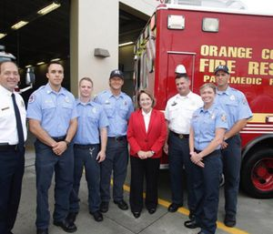 Orange County Mayor Teresa Jacobs, Orange County Fire Department Chief Otto Drozd III and Medical Director Dr. Christian Zuver announced Project Leave Behind, which supplies the department with naloxone kits to give to the families and loved ones of those treated for an overdose. (Photo/Orange County)