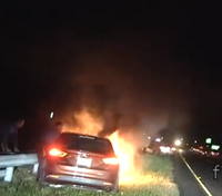 Video: NJ troopers pull unconscious man from burning car