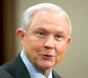 In this March 15, 2017, file photo, Attorney General Jeff Sessions speaks to law enforcement officers in Richmond, Va. (AP Photo/Steve Helber, File)