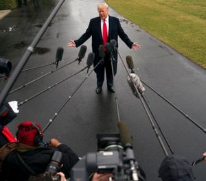 President Donald Trump speaks to reporters before boarding Marine One on the South Lawn of the White House in Washington, Friday, Feb. 23, 2018, to travel to Oxon Hill, Md. to speak at the Conservative Political Action Conference (CPAC). (AP Photo/Andrew Harnik)