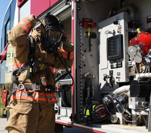 Proper skills development does not take place by putting a firefighter into a zero-visibility environment (e.g., hood over their SCBA mask) before they've mastered the skills with everything in plain sight. (Photo/USAF)
